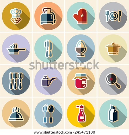 Cooking icons. Cuisine. Dishes. Flat cooking icons. - stock vector