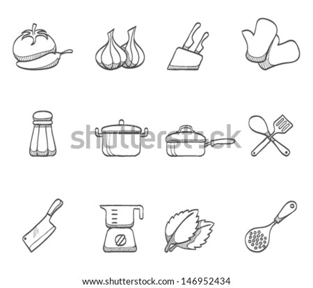 Cooking icons in sketch.  - stock vector