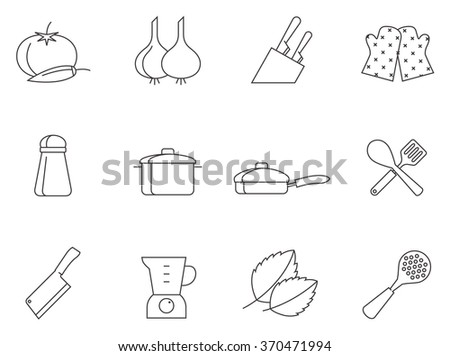 Cooking icons in thin outlines. - stock vector