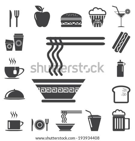 cooking icons, mono vector symbols - stock vector
