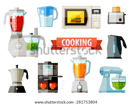 cooking icons. set of elements - food processor, microwave, electric kettle, toaster oven, mixer, kitchen, coffee machine, espresso machine, coffeemaker, blender, jug, water - stock vector