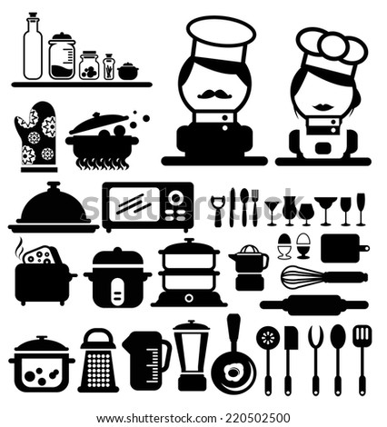 cooking icons vector - stock vector