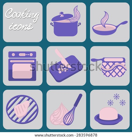 Cooking icons, vector illustration - stock vector