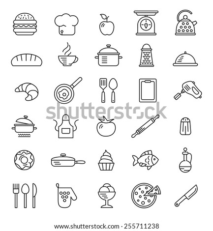 cooking icons, vector symbols - stock vector