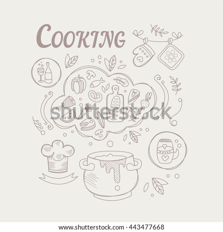 Cooking Ingredients And Attributes Set Vector Illustration In Trendy Sketch Style On White Background - stock vector