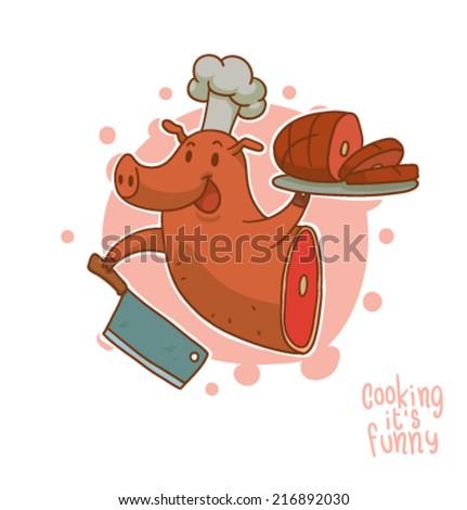 Cooking it is funny, Pork, vector - stock vector