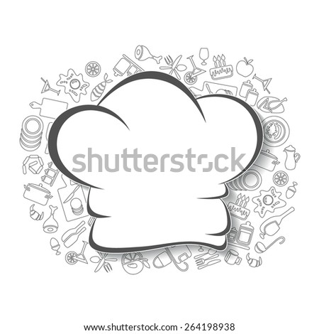 Cooking, kitchen and food background, linear objects, empty template.  - stock vector