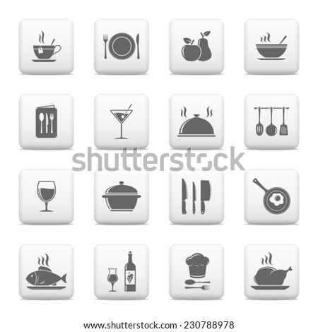 Cooking & kitchen icons, vector web buttons - stock vector