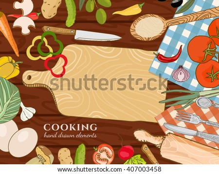 Cooking kitchen table fresh vegetables food template hand drawn sketch illustration - stock vector