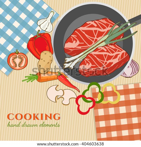 Cooking kitchen table time to cook cooking recipes fresh meat and vegetables food template hand drawn sketch illustration - stock vector
