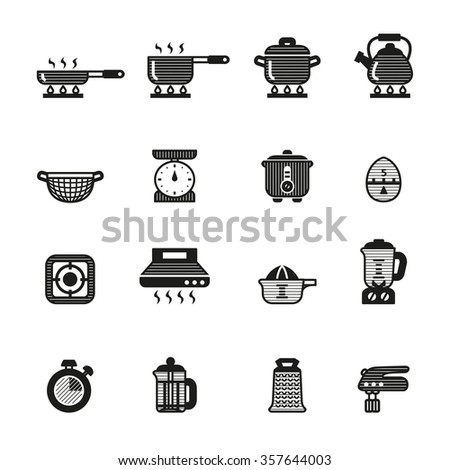 Kitchen Tools And Utensils cooking kitchen tools utensils icons set stock vector 357644003