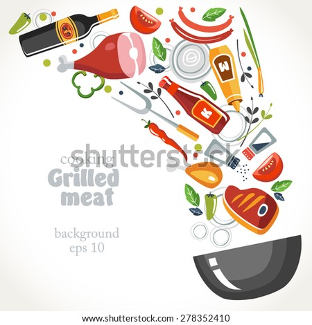 cooking marinade grill collection background - stock vector