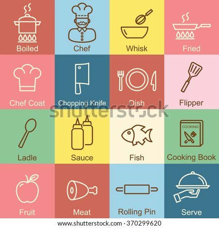 cooking outline design, vector infographic elements - stock vector
