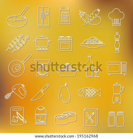 cooking outline icons - stock vector