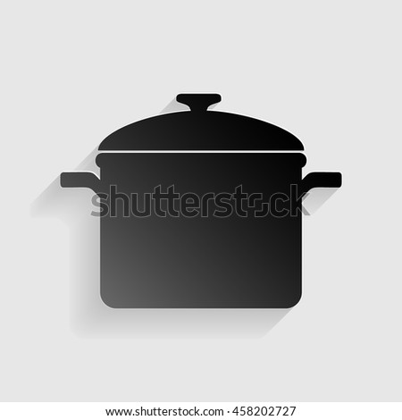 Cooking pan sign. Black paper with shadow on gray background.