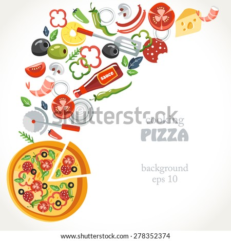 cooking pizza collection background set  bottle herbs statula cafe pineapple - stock vector