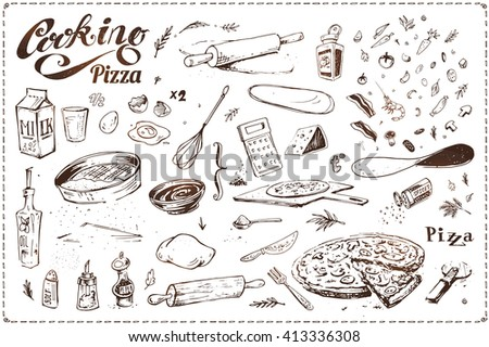 cooking pizza. hand-drawn sketches in ink. isolated vector. vintage. for design in cooking, menu, packaging and recipe books. calligraphy. dough with bacon and shrimp, sausage, vegetables and spices - stock vector