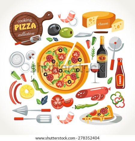 cooking pizza objects collection - stock vector