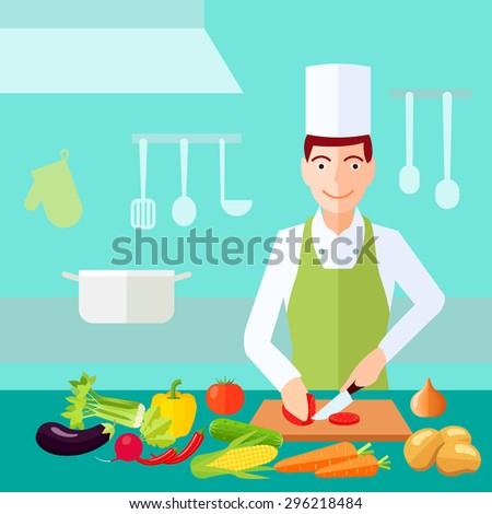 Cooking process chef cut tomato with much of vegetables on table flat color concept vector illustration  - stock vector