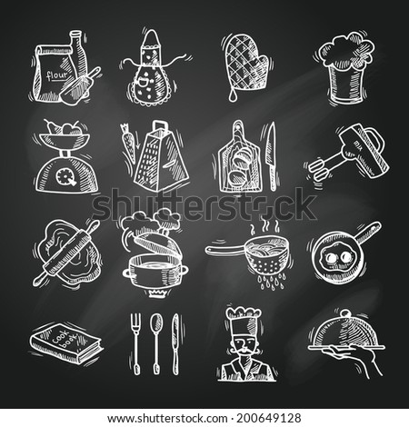 Cooking process delicious food sketch chalkboard icons set isolated vector illustration - stock vector