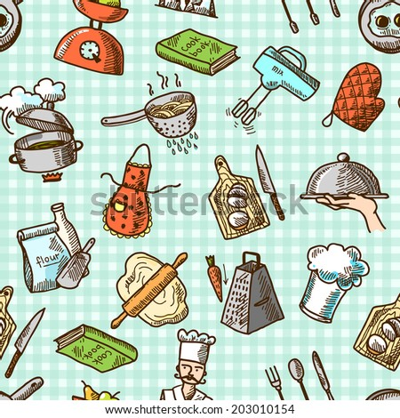 Cooking process delicious food sketch icons on squared background seamless pattern vector illustration - stock vector