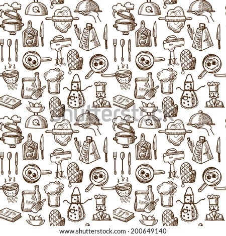 Cooking process delicious food sketch icons seamless pattern vector illustration - stock vector