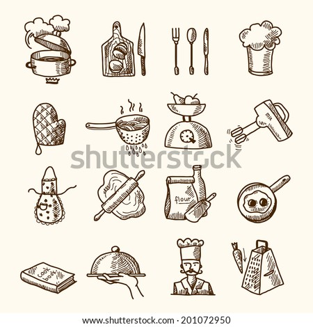Cooking process delicious food sketch icons set isolated vector illustration - stock vector