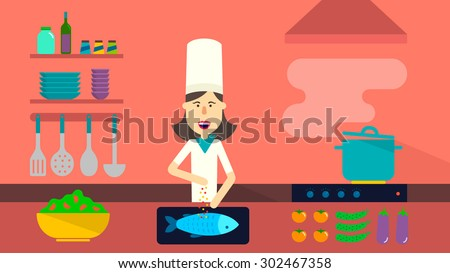 Restaurant Kitchen Illustration interior kitchen pans on stove cooking stock vector 421701139