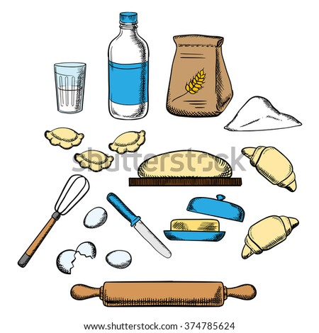 Cooking process of kneading dough with icons of dough, milk, butter, eggs, flour and kitchen utensil - stock vector
