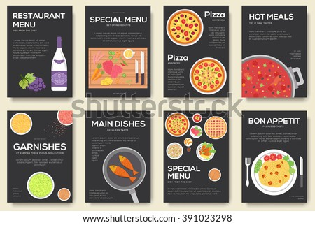 Cooking set cards with menu vector background. Cooking menu banner. Cooking menu icons. Cooking menu infographic. Cooking menu concept design. Cooking book. Cooking menu elements. Cooking menu poster - stock vector