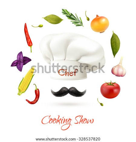 Cooking show realistic concept with chef hat mustache and ingredients isolated vector illustration  - stock vector