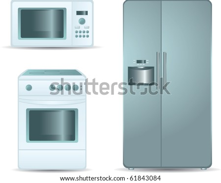 Cooking stove, microwave oven and refrigerator side-by-side - stock vector
