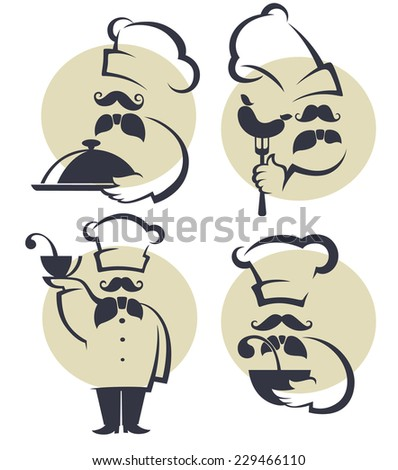 cooking symbols, food and chef silhouettes, vector collection emblems for your menu - stock vector