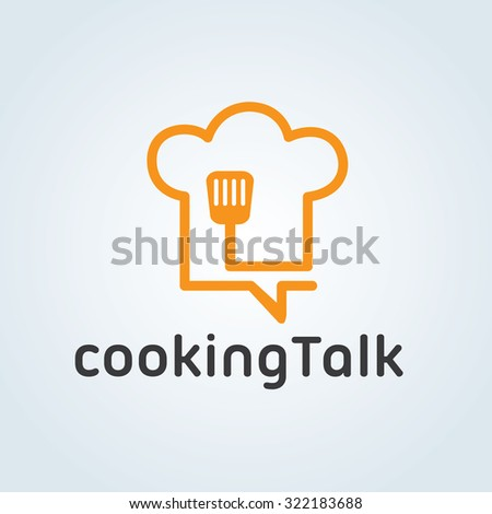 Cooking Talk,food logo,cooking logo,chef hat,cafe,communication,vector logo template - stock vector