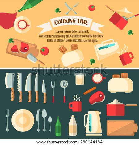 Cooking time vector illustration.Flat design of preparing food banner. Tableware and kitchen objects set. - stock vector