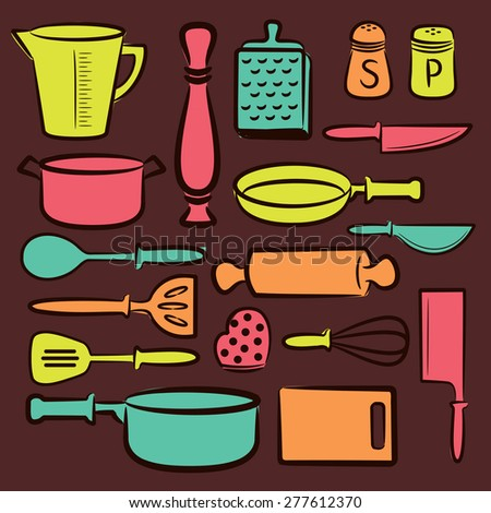cooking utensil background - stock vector