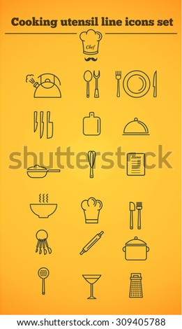 Cooking utensil line icons set. EPS10 vector illustration for your design. Linear design icons collection. Outline kitchen icons kit. - stock vector