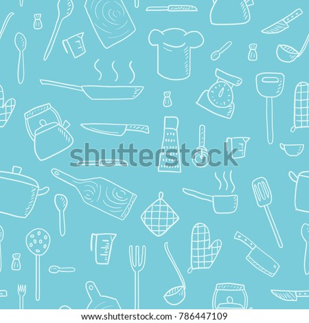 Cooking utensils and kitchen tools - seamless background doodle vector.