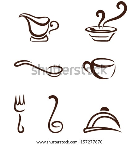 cooking utensils - kitchen icons - stock vector