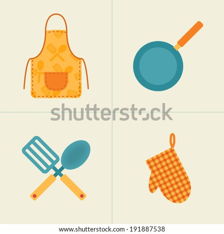Cooking utensils, kitchenware icons isolated on a white background. Apron, frying pan, spatula and spoon, pot holder. Flat design vector illustration.  - stock vector