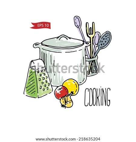 Cooking vector illustration with vegetables and kitchenware. - stock vector