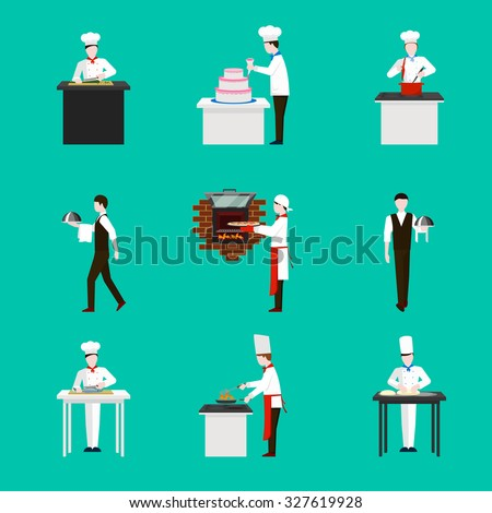 Cooking with chef figures vector icons set. Dinner in restaurant,  cake and kitchen illustration
