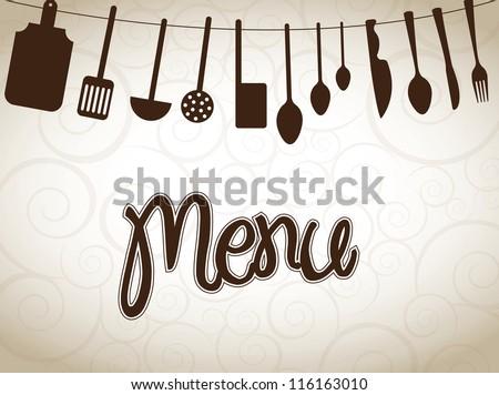 cookware over vintage background vector illustration - stock vector