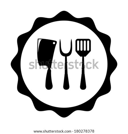 Cookware stamp over white background, vector illustration