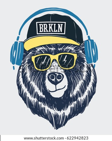 cool bear illustration tshirt other uses ベクター画像素材 622942823