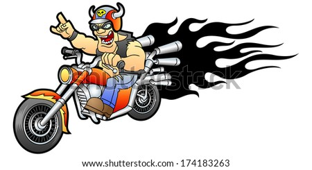 Cool biker rides on a motorcycle. Vector illustration.