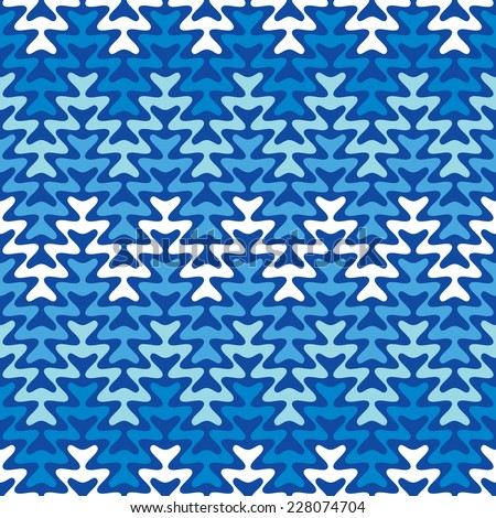 Cool blue zigzag pattern repeats seamlessly. - stock vector