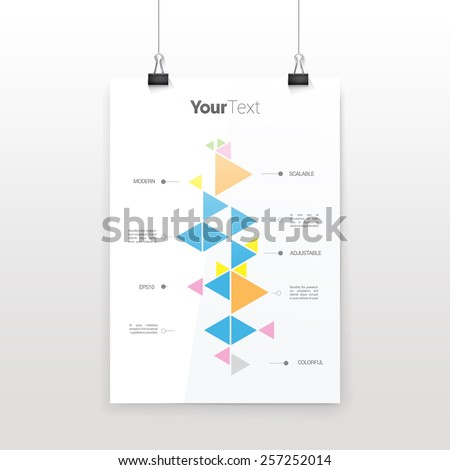 Cool Bootsrap Color Concept Retro Style Timeline Illustration of Triangles on a Hanging A4 Paper Sheet - stock vector