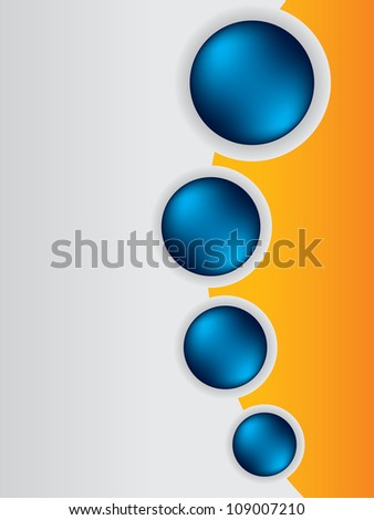 Cool brochure design background template with blue buttons - stock vector