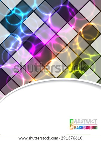 Cool brochure design with color plasma and laser effect - stock vector